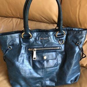 Prada Shine Leather Shoulder Bag